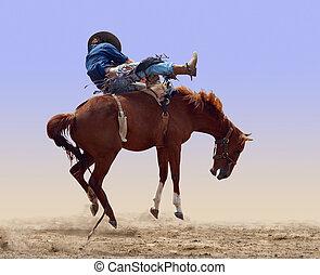 ロデオ, はね上がる, 馬
