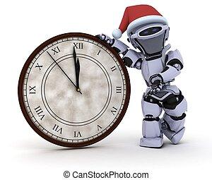 ロボット, ∥で∥, 時計, ∥において∥, 元日