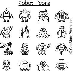 ロボット, アイコン, セット, 中に, 薄いライン, スタイル