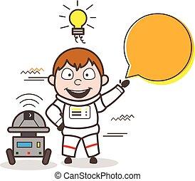 ロボット, イラスト, ベクトル, スピーチ, 宇宙飛行士, 泡, 漫画