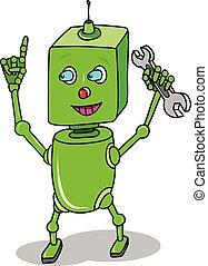 ロボット, イラスト, 緑, スパナー, 漫画, 株