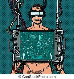 ロボット, バーチャルリアリティ, マレ, 身に着けていること, cyberpunk, ガラス