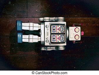 ロボット, レトロ, 古い, あること, 銀, おもちゃ, 木製である