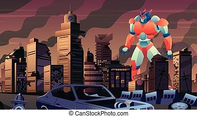 ロボット, 巨人, 都市