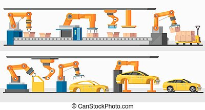 ロボット, 横, 産業, オートメーション, 旗