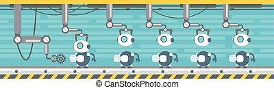 ロボット, 生産, コンベヤー, 自動, アセンプリ, 機械類, 産業, オートメーション, 産業
