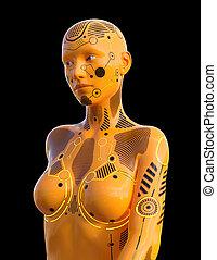 ロボット, 黒, 隔離された, 背景, ヒューマノイド