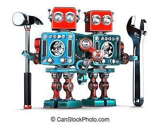 ロボット, isolated., ∥含んでいる∥, tools., クリッピング道, 労働者