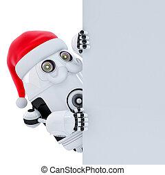 ロボット, santa, で 指すこと, 白, banner., isolated., ∥含んでいる∥, クリッピング道