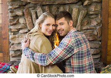 ロマンチックな カップル, 若い, 火をつけられた, 前部, 暖炉