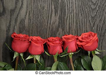 ロマンチック, ばら, 木, 背景, テーブル, 赤