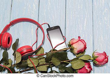 ロマンチック, ばら, 木, 背景, テーブル。, 赤