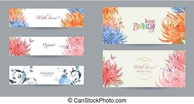 ロマンチック, カラフルである, コレクション, テンプレート, chrysanthemu, カード