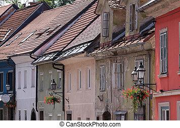 ロマンチック, スロベニア, 中心, 町, ljubljana, 古い, 中世