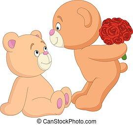 ロマンチック, テディ, 恋人, バレンタイン, 熊, 日