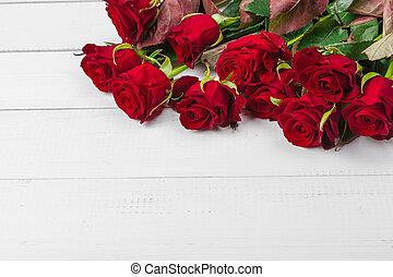 ロマンチック, テーブル, 背景, バラ, 木, 赤