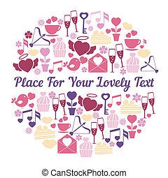 ロマンチック, デザイン, カード, スペース, テキスト