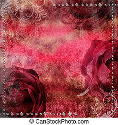 ロマンチック, バラ, 背景, 乾きなさい, 低下, 型