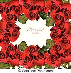 ロマンチック, バレンタイン, ばら, カード, vector., イラスト, 日, 赤