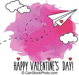 ロマンチック, バレンタイン, イラスト, 飛行, 挨拶, 飛行機, 手, ペーパー, ベクトル, 引かれる, 日, カード, 幸せ