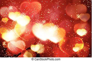 ロマンチック, バレンタイン, bokeh, 白熱, 背景, 日, 心, 赤