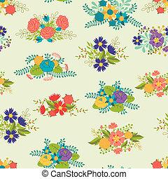 ロマンチック, パターン, seamless, レトロ, 花束, 花, style.