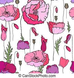 ロマンチック, パターン, seamless, 手ざわり, 優雅である, flowers., デザイン, 季節, 花, ...