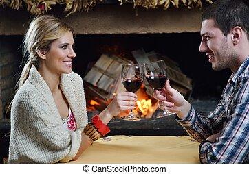 ロマンチック, モデル, ソファー, 恋人, 若い, 季節, 前部, 家, 幸せ, 暖炉, 冬