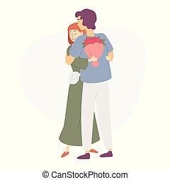 ロマンチック, 人, 恋人, 花束, 花, 女, love., date., 与える, 若い