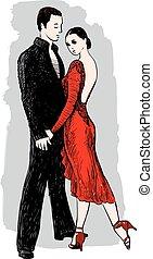 ロマンチック, 図画, 恋人, ベクトル, ダンス