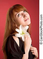 ロマンチック, 女の子, ∥で∥, 花