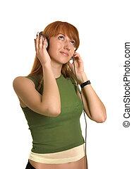 ロマンチック, 女の子, 聞くこと, へ, ∥, 音楽