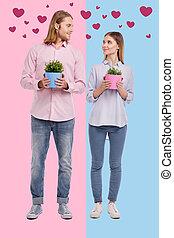 ロマンチック, 家, 恋人, 後で, 引っ越し, 新しい, 花, 購入