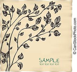 ロマンチック, 木, テンプレート, 招待, 羊皮紙, カード