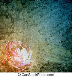 ロマンチック, 背景, 中に, retro 様式, ∥で∥, シルエット, の, バラ, そして, 音楽的な ノート