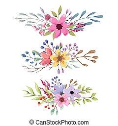 ロマンチック, 花束, collection., 葉, 水彩画, flowers., 結婚式, 花
