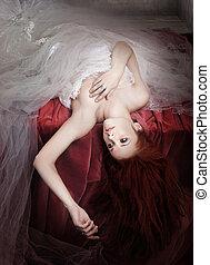 ロマンチック, 若い, 毛様式, ショウガ, 女性, 写真