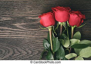 ロマンチック, 3, ばら, 木, 背景, テーブル, 赤, の上