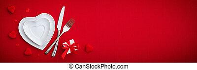 ロマンチック, -, cutlery, テーブルをセットする, プレート, 赤