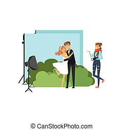 ロマンチック, pre, 結婚写真, シュート, 中に, スタジオ, ∥で∥, カラフルである, decorations., 恋人, カップル。, 若い 女の子, カメラマン, ∥で∥, カメラ, 中に, 手。, 平ら, ベクトル, 人々, 特徴