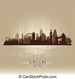 ロンドン, イギリス\, スカイライン, 都市, シルエット