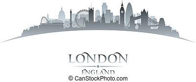 ロンドン, イギリス\, 背景, スカイライン, 都市, シルエット, 白