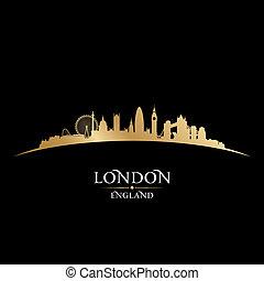 ロンドン, イギリス\, 黒い背景, スカイライン, 都市, シルエット