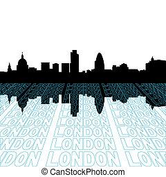 ロンドン, スカイライン, ∥で∥, 見通し, テキスト, アウトライン, 前景