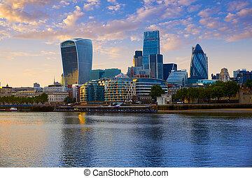 ロンドン, スカイライン, 財政, 日没, 地区