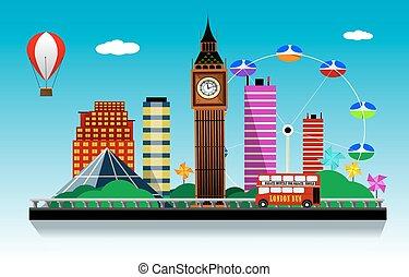 ロンドン, ベクトル, 都市, バックグラウンド。