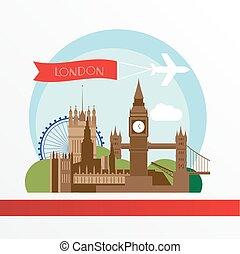 ロンドン, ベクトル, skyline., イラスト