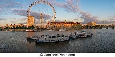 ロンドン, 川, 目, thames, 日没