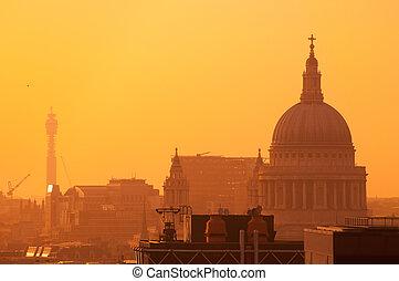 ロンドン, 日没, st., スカイライン, ポール
