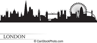 ロンドン, 背景, スカイライン, 都市, シルエット